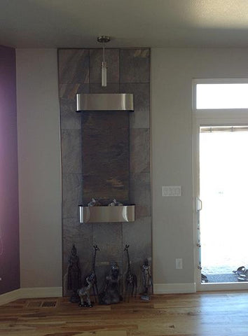 wall fountain premade vertical stone stainless steel