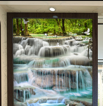 stained glass waterfall panel