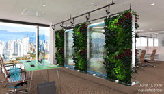 living wall partition glass waterfall feature