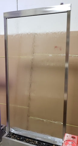 4x9 Brushed Stainless Steel Water Wall - Tempered Clear Glass - Center Or Flush Mounted In Base