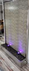 9 Feet Tall 6 Foot Wide Partition Stainless Steel Glass Floor Fountain Waterfall