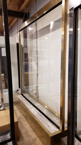 Feet: 7.2ft high x 6.65ft wide x 1.5ft depth Partition Waterfall Clear Glass Gold Trim