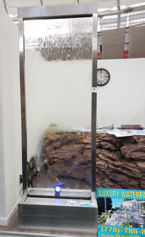 7.5' Free Standing Water Wall - Brushed Stainless Steel - Clear Glass