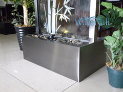 7.5 foot Indoor Floor Fountain Black Electroplated Titanium Bamboo Clear Glass - DTBG90FF
