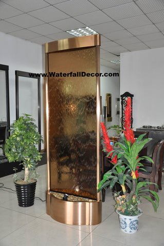 7.5 Foot Indoor Floor Fountain Copper Trim Brown Glass - CTBG90FF