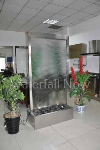 "78"" Brushed Stainless Steel Glass Waterwall - Ripple Glass - BSRG78FF"