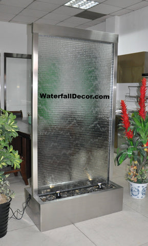 6.5 Foot Floor Fountain Brushed Stainless Steel Ripple Glass - BSRG78FF