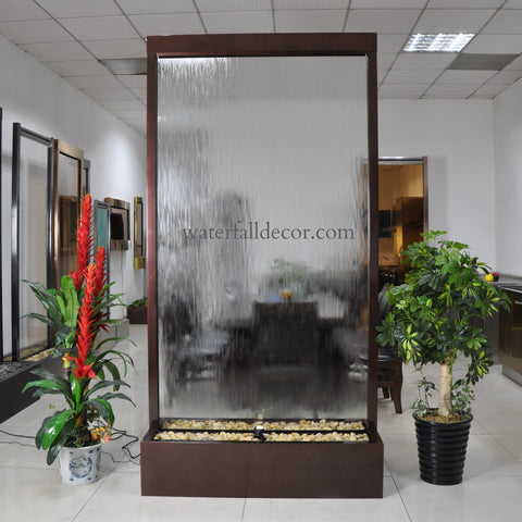 8 Foot Indoor Floor Fountain Brown Copper Clear Glass - BCCG96FF