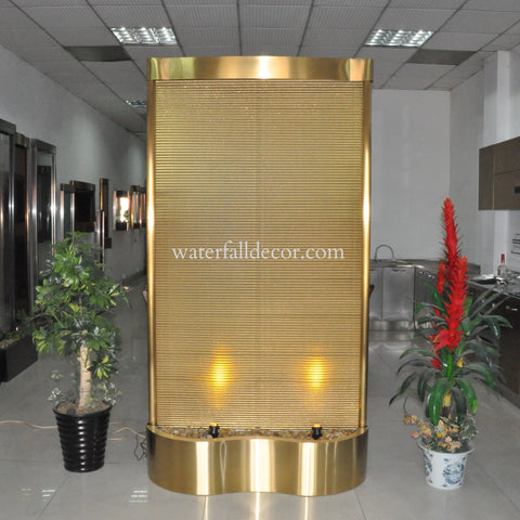 8 Foot Indoor Floor Fountain Gold Plated Ripple Metal - GPRM96FF