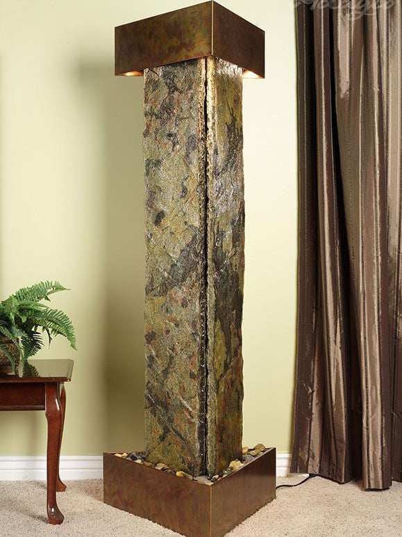 Floor Fountain - Artesian Springs - Green Slate - Rustic Copper - as1002__32714