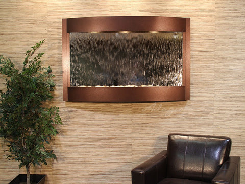 Wall Fountain - Calming Waters - Silver Mirror - Copper Vein - cwa5040