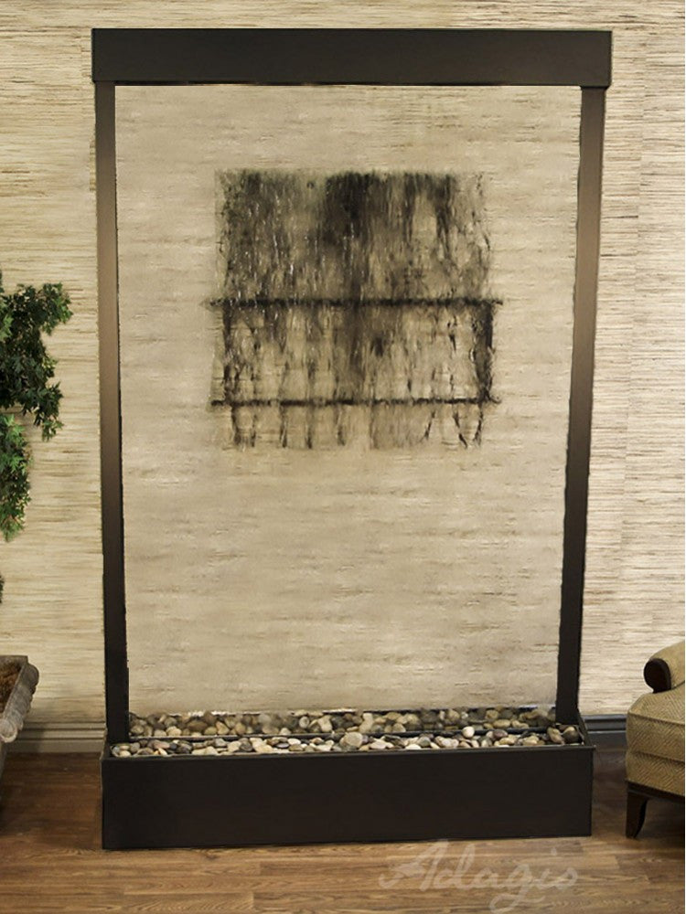 Floor Fountain - Grandeur River (Centered In Base) - Clear Glass - Antique Bronze - grc3550