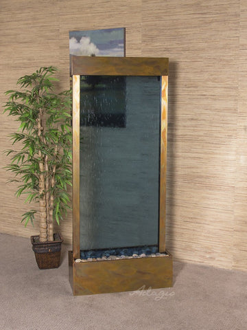 Floor Fountain - Harmony River (Centered In Base) - Blue Glass - Rustic Copper - hrc1051