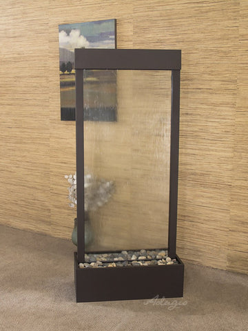 Floor Fountain - Harmony River (Centered In Base) - Clear Glass - Antique Bronze - HRC3550