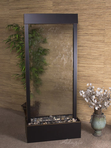 Floor Fountain - Harmony River (Centered In Base) - Clear Glass - Blackened Copper - hrc15503