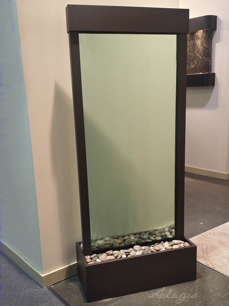 Floor Fountain - Harmony River (Centered In Base) - Green Glass - Antique Bronze - hrc3552show