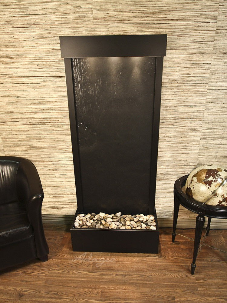 Floor Fountain - Harmony River (Flush Mounted Towards Rear Of The Base) - Black FeatherStone - Antique Bronze - hrf3511_1