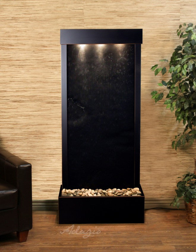 Floor Fountain - Harmony River (Flush Mounted Towards Rear Of The Base) - Black FeatherStone - Blackened Copper - hrf1511a