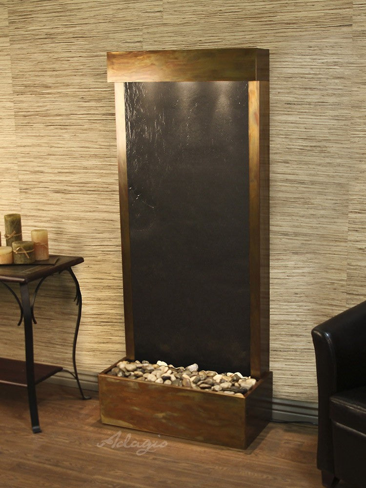 Floor Fountain - Harmony River (Flush Mounted Towards Rear Of The Base) - Black FeatherStone - Rustic Copper - hrf1011_1