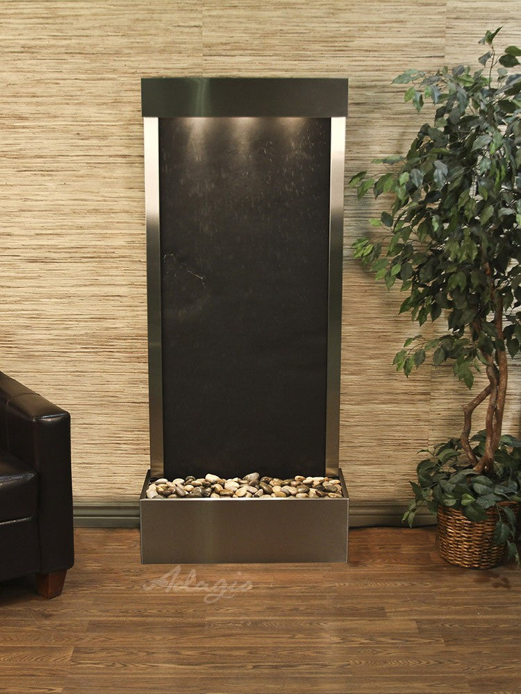 Floor Fountain - Harmony River (Flush Mounted Towards Rear Of The Base) - Black FeatherStone - Stainless Steel - hrf2011_1