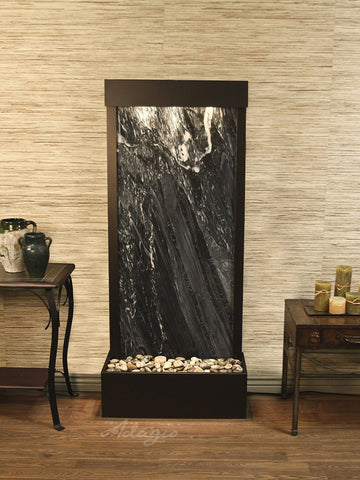 Floor Fountain - Harmony River (Flush Mounted Towards Rear Of The Base) - Black Spider Marble - Antique Bronze - hrf3507_1