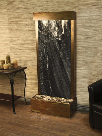 Floor Fountain - Harmony River (Flush Mounted Towards Rear Of The Base) - Black Spider Marble - Rustic Copper - hrf1007_1