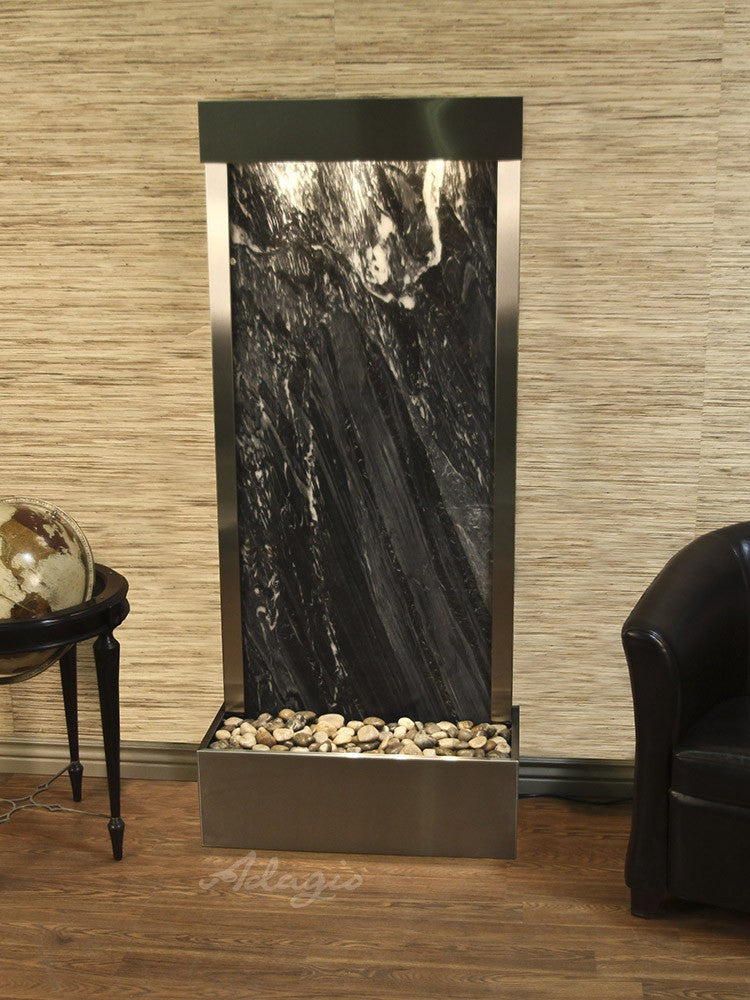 Floor Fountain - Harmony River (Flush Mounted Towards Rear Of The Base) - Black Spider Marble - Stainless Steel - hrf2007_1