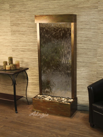 Floor Fountain - Harmony River (Flush Mounted Towards Rear Of The Base) - Bronze Mirror - Rustic Copper - hrf10412