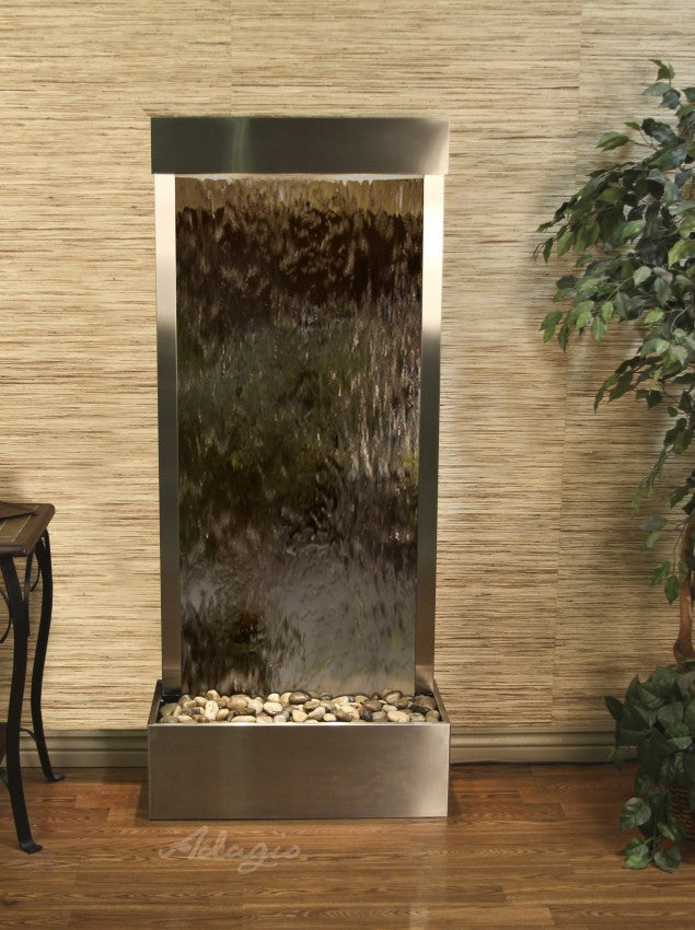 Floor Fountain - Harmony River (Flush Mounted Towards Rear Of The Base) - Bronze Mirror - Stainless Steel - hrf2041