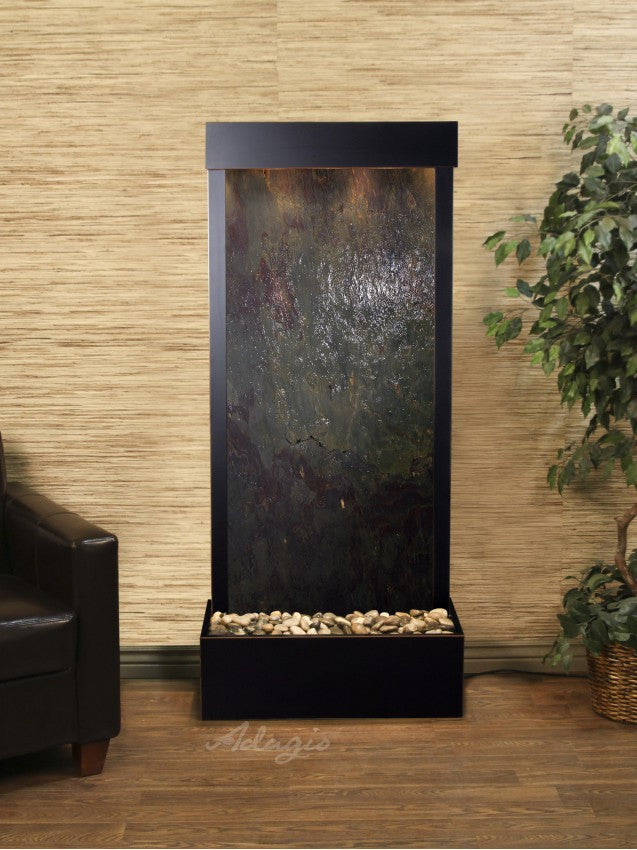 Floor Fountain - Harmony River (Flush Mounted Towards Rear Of The Base) - Multi-Color FeatherStone - Blackened Copper - hrf15142