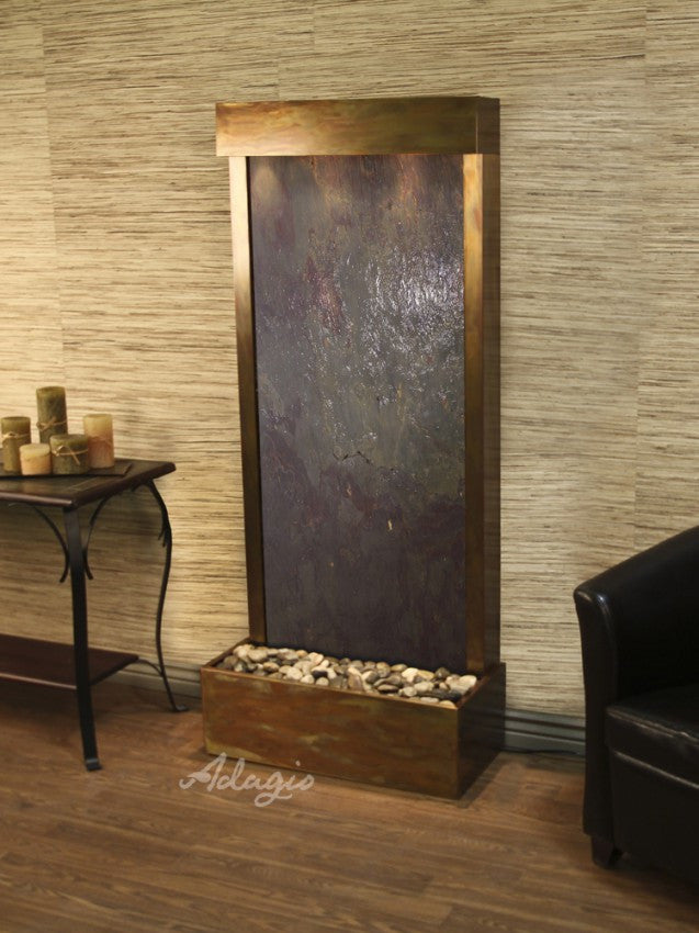 Floor Fountain - Harmony River (Flush Mounted Towards Rear Of The Base) - Multi-Color FeatherStone - Rustic Copper - hrf10142