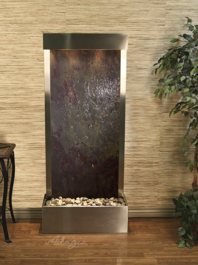 Floor Fountain - Harmony River (Flush Mounted Towards Rear Of The Base) - Multi-Color FeatherStone - Stainless Steel - hrf2014