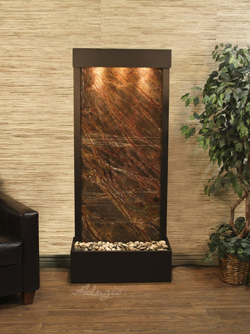 Floor Fountain - Harmony River (Flush Mounted Towards Rear Of The Base) - Rainforest Brown Marble - Antique Bronze - hrf3506_1