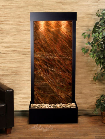 Floor Fountain - Harmony River (Flush Mounted Towards Rear Of The Base) - Rainforest Brown Marble - Blackened Copper - hrf1506a