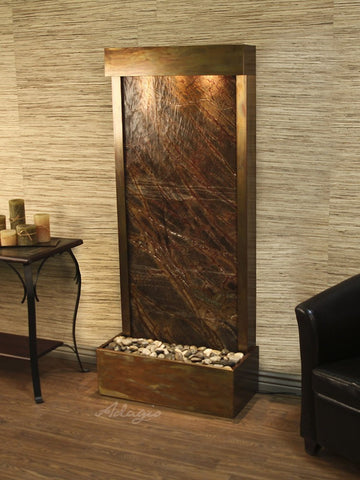 Floor Fountain - Harmony River (Flush Mounted Towards Rear Of The Base) - Rainforest Brown Marble - Rustic Copper - hrf1006_1