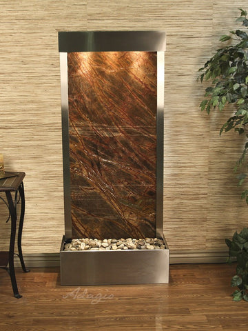 Floor Fountain - Harmony River (Flush Mounted Towards Rear Of The Base) - Rainforest Brown Marble - Stainless Steel - hrf2006_1
