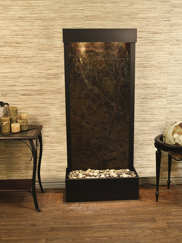Floor Fountain - Harmony River (Flush Mounted Towards Rear Of The Base) - Rainforest Green Marble - Antique Bronze - hrf3505_1