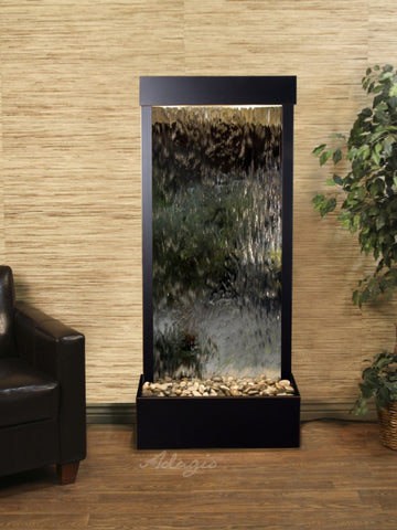 Floor Fountain - Harmony River (Flush Mounted Towards Rear Of The Base) - Silver Mirror - Blackened Copper - hrf15402