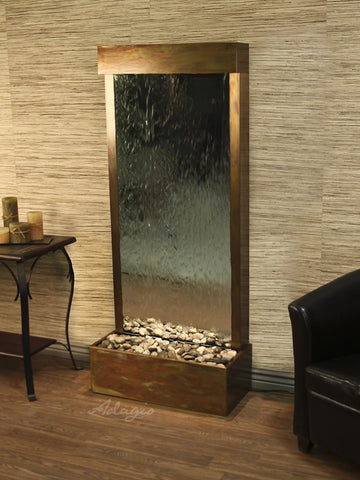 Floor Fountain - Harmony River (Flush Mounted Towards Rear Of The Base) - Silver Mirror - Rustic Copper - hrf1040_1