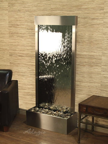 Floor Fountain - Harmony River (Flush Mounted Towards Rear Of The Base) - Silver Mirror - Stainless Steel - hrf2040_1