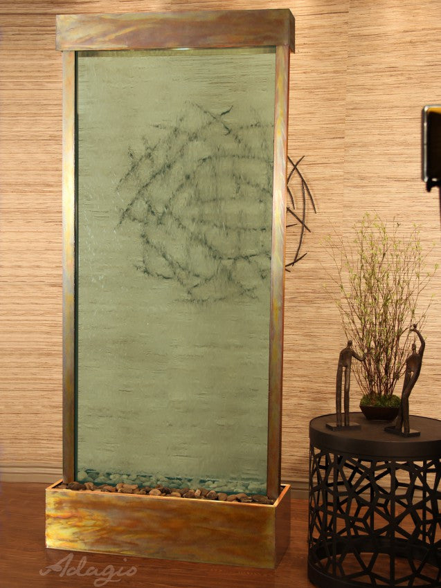 Floor Fountain - Tranquil River (Centered In Base) - Green Glass - Rustic Copper - trc1052