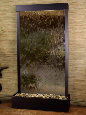 Floor Fountain - Tranquil River (Flush Mounted Towards Rear Of The Base) - Bronze Mirror - Blackened Copper - trf15412