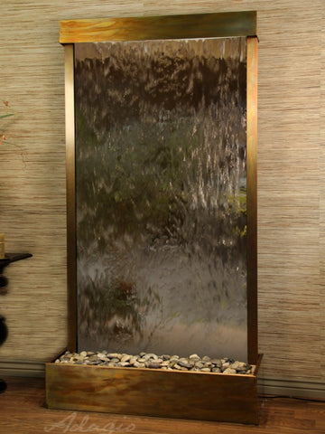 Floor Fountain - Tranquil River (Flush Mounted Towards Rear Of The Base) - Bronze Mirror - Rustic Copper - trf10412