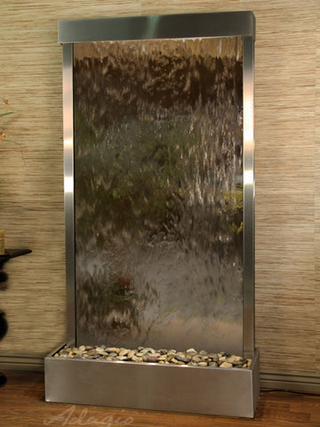 Floor Fountain - Tranquil River (Flush Mounted Towards Rear Of The Base) - Bronze Mirror - Stainless Steel - trf20412