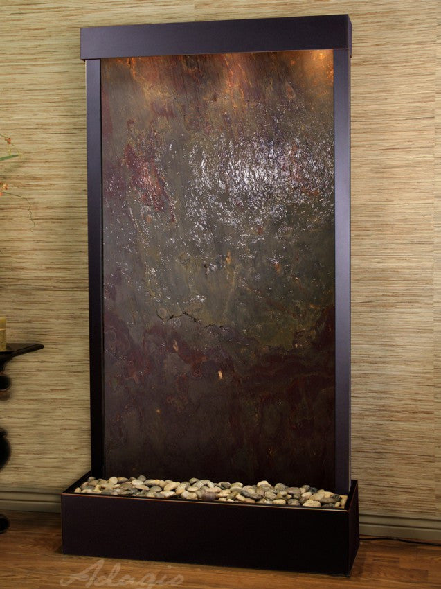 Floor Fountain - Tranquil River (Flush Mounted Towards Rear Of The Base) - Multi-Color FeatherStone - Blackened Copper - trf15142