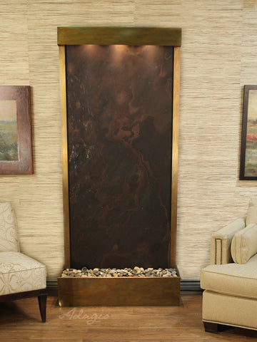 Floor Fountain - Tranquil River (Flush Mounted Towards Rear Of The Base) - Multi-Color FeatherStone - Rustic Copper - trf1014