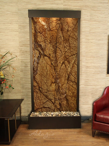 Floor Fountain - Tranquil River (Flush Mounted Towards Rear Of The Base) - Rainforest Brown Marble - Antique Bronze - trf3506