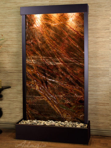 Floor Fountain - Tranquil River (Flush Mounted Towards Rear Of The Base) - Rainforest Brown Marble - Blackened Copper - trf15062