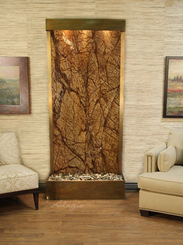 Floor Fountain - Tranquil River (Flush Mounted Towards Rear Of The Base) - Rainforest Brown Marble - Rustic Copper - trf1006