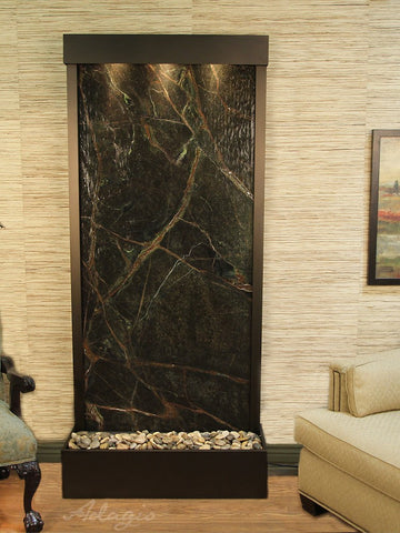 Floor Fountain - Tranquil River (Flush Mounted Towards Rear Of The Base) - Rainforest Green Marble - Antique Bronze - trf3505